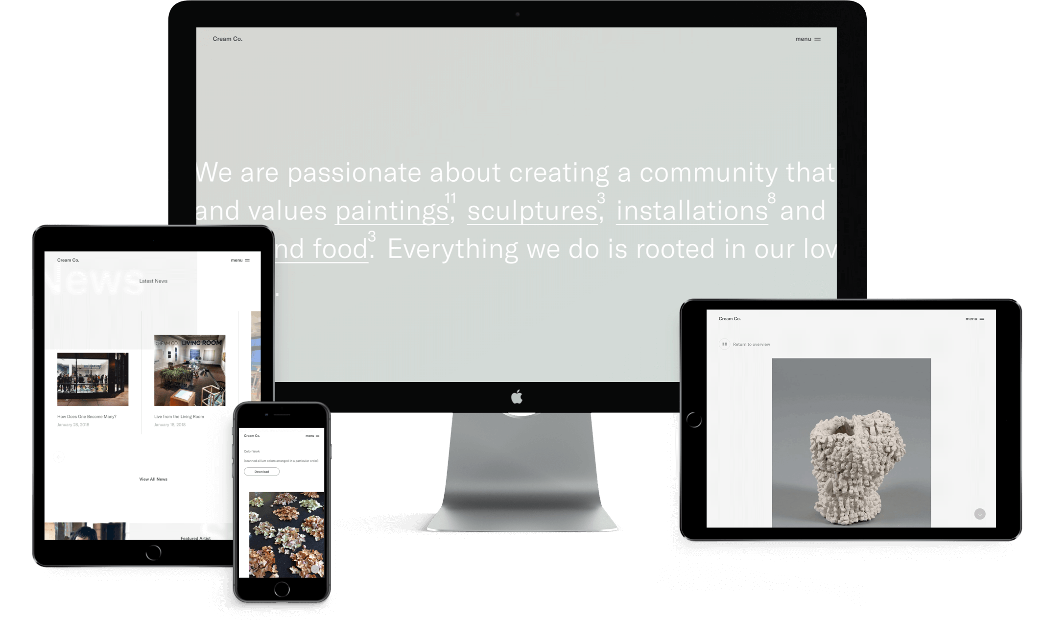 Cream Co. website ontwerp op mobiel, tablet & desktop