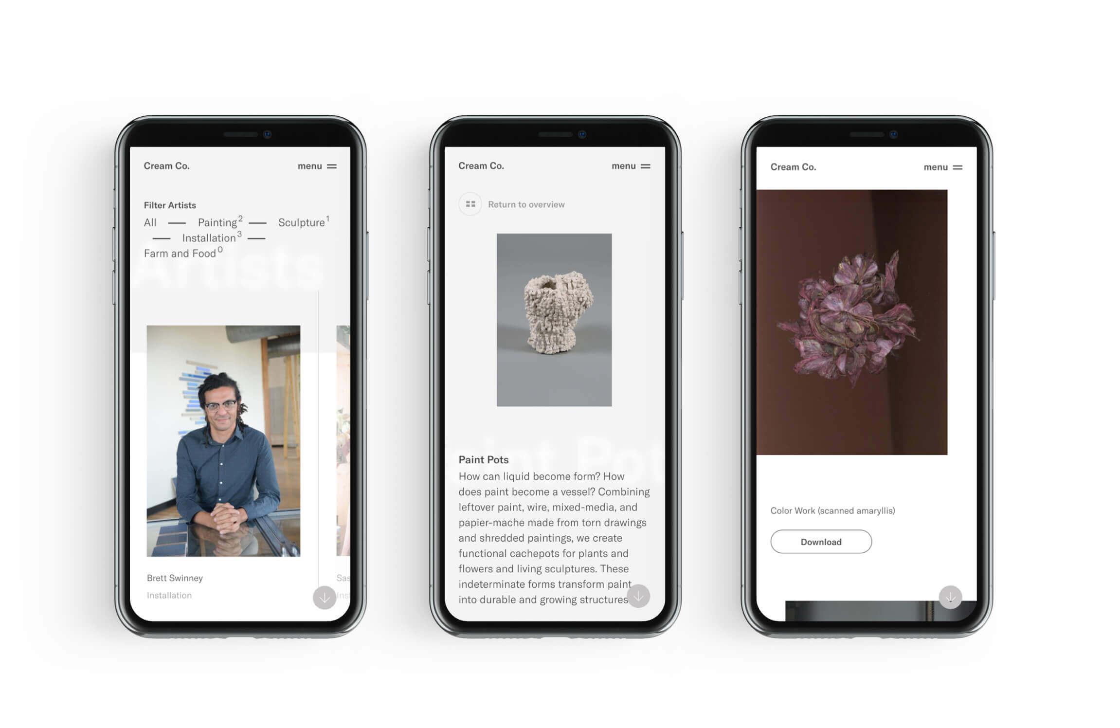 3 mobiele telefoons met afbeeldingen van de Cream Co. website