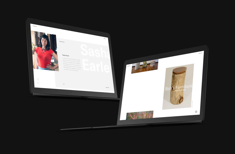 Cream Co. medewerkers en projecten pagina's afgebeeld op twee zwarte laptops