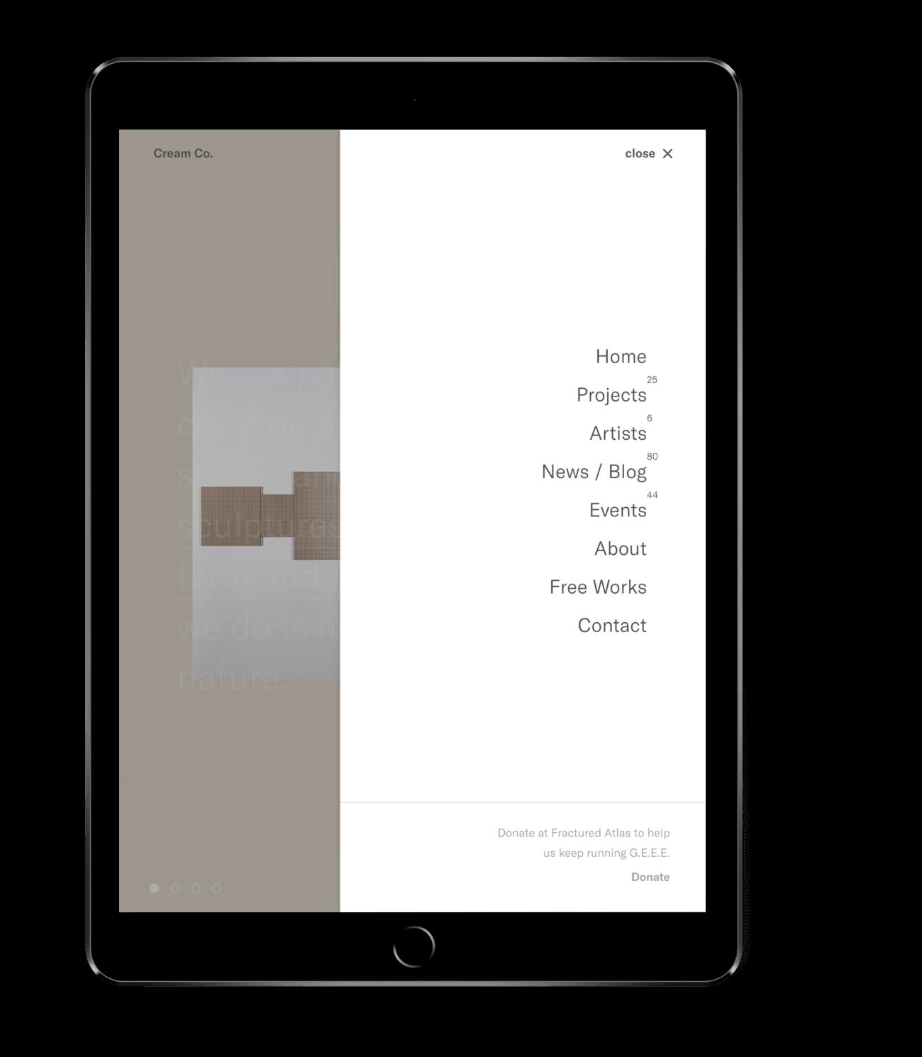 Cream Co. menu ontwerp afgebeeld op een tablet