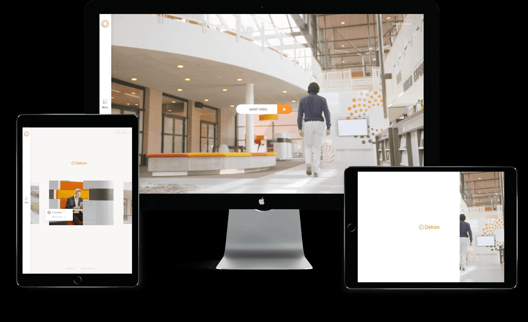 Detron microsite overzicht op tablet en desktop