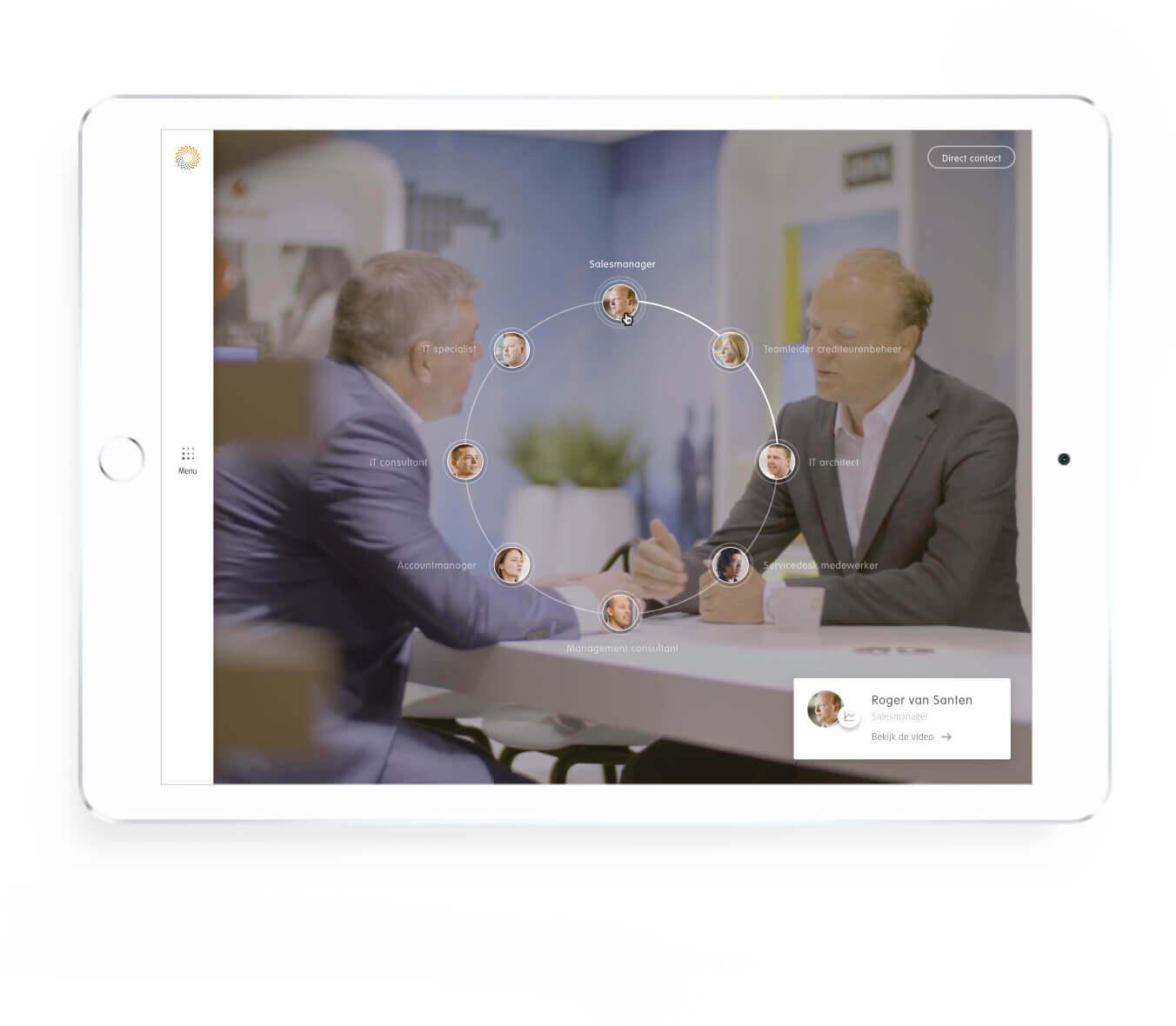 Detron selecteer functie op scherm tablet