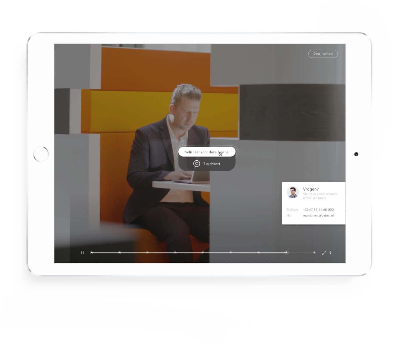 Detron selecteer functie scherm op tablet