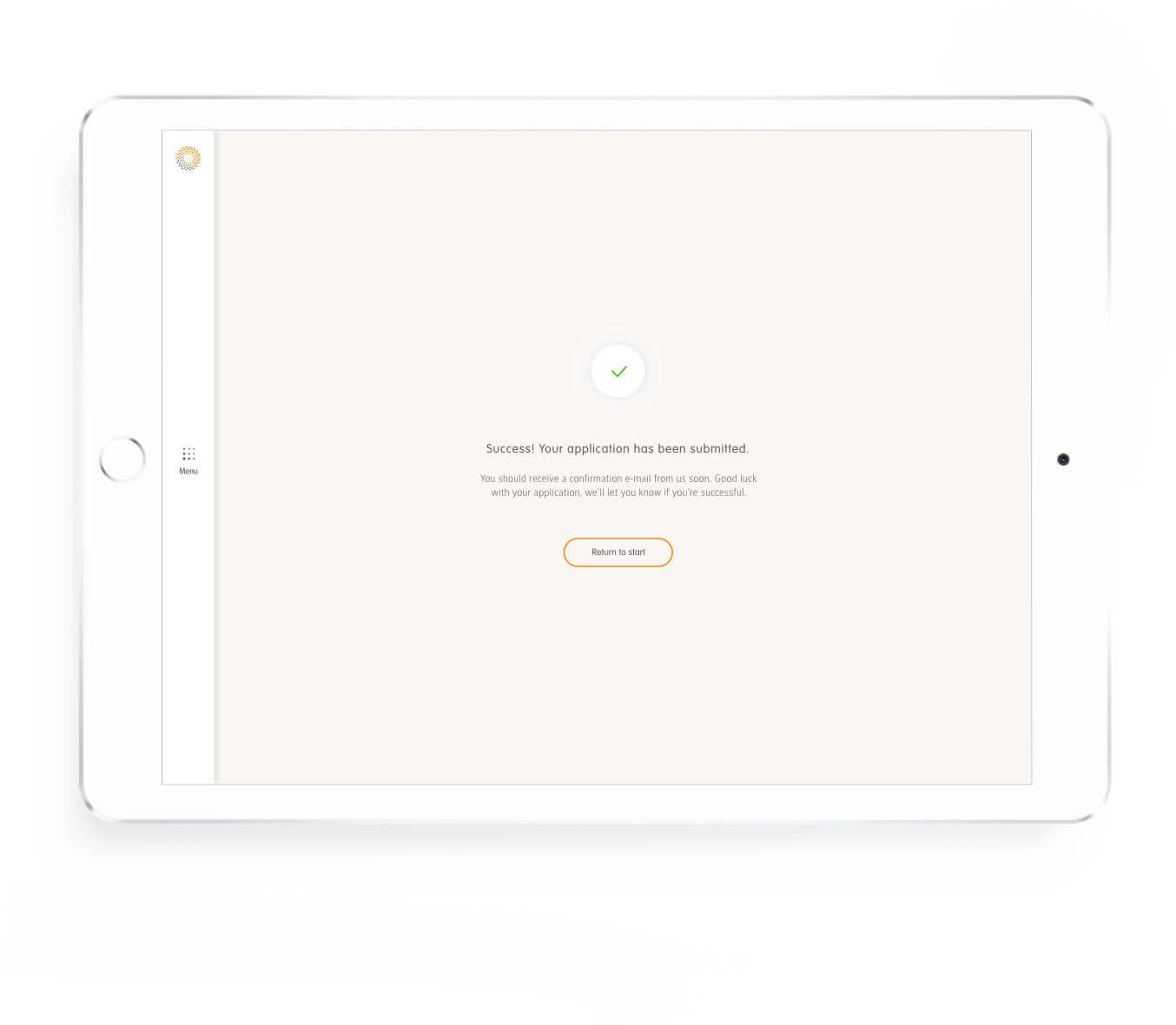Detron vacature aanmelding pagina op tablet