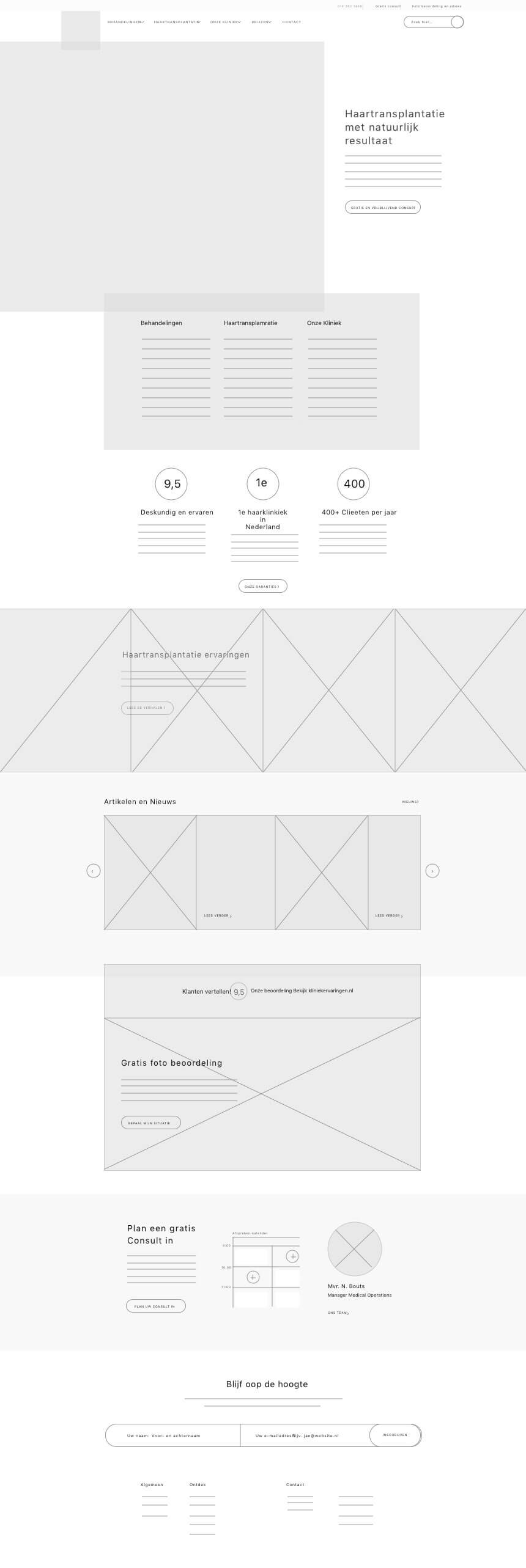 Hairplus Medical Care wireframe van de homepage