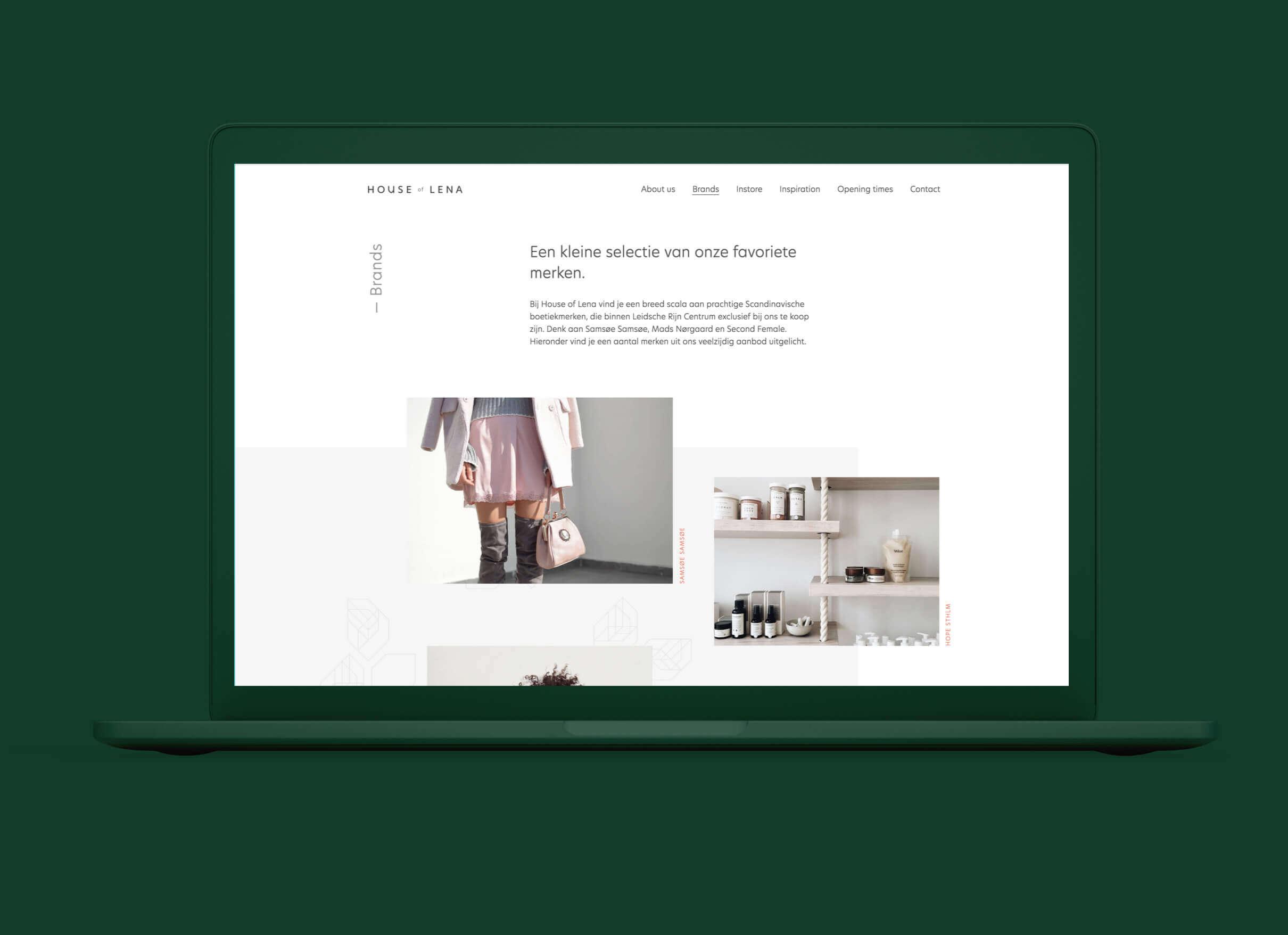 House of Lena afbeelding van favoriete merken sectie op homepage desktop