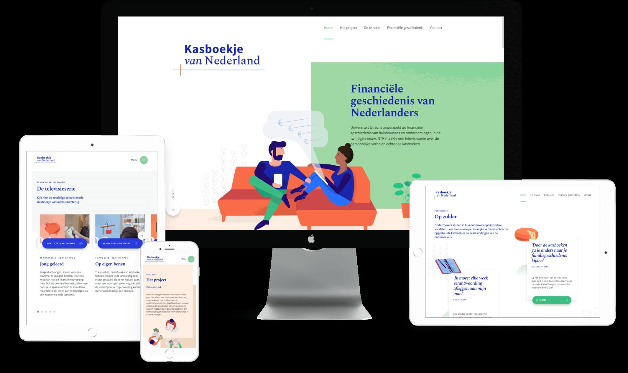 Overzicht van tablets, mobiel en desktop variant website Kasboekje