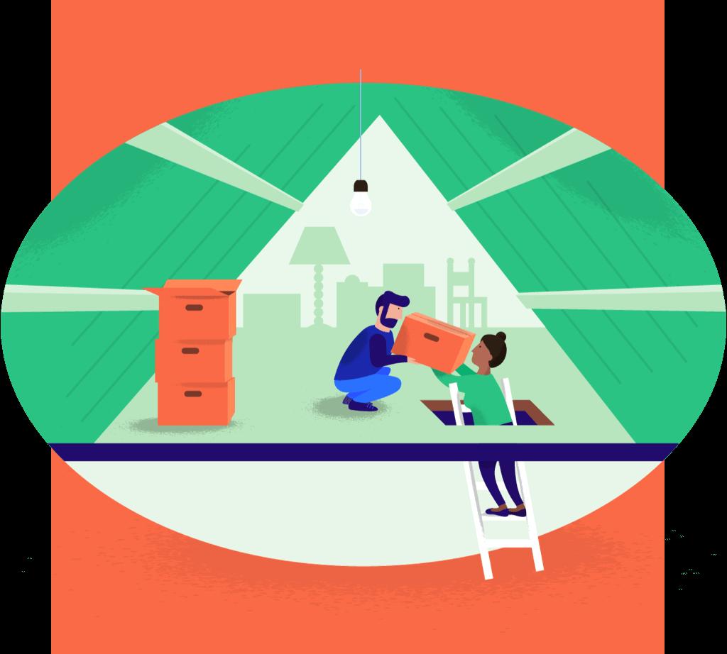 Illustratie van mensen die dozen op zolder zetten