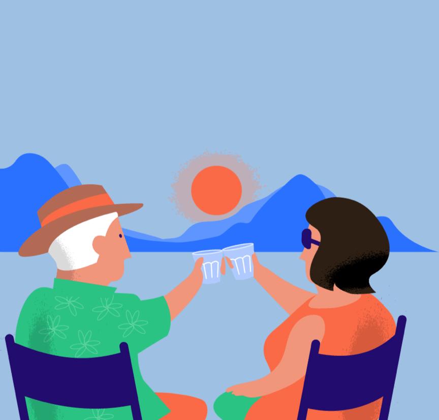 Kasboekje van Nederland illustratie twee mensen ondergaande zon