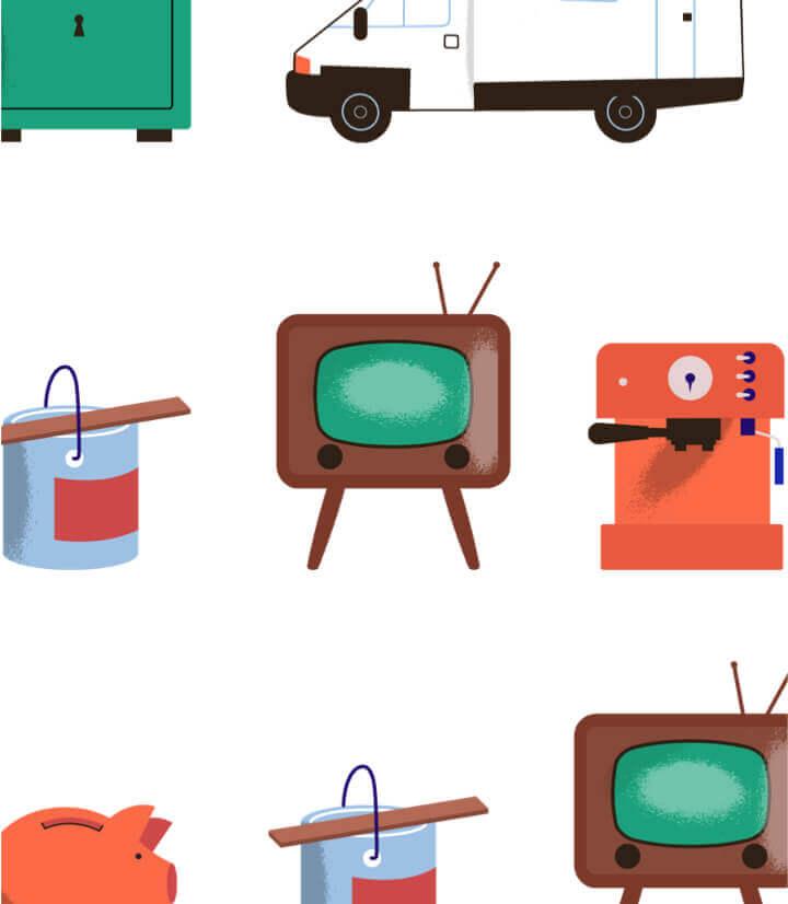 Kasboekje van Nederland illustraties van televisie, verfpot, koffiemachine, etc.