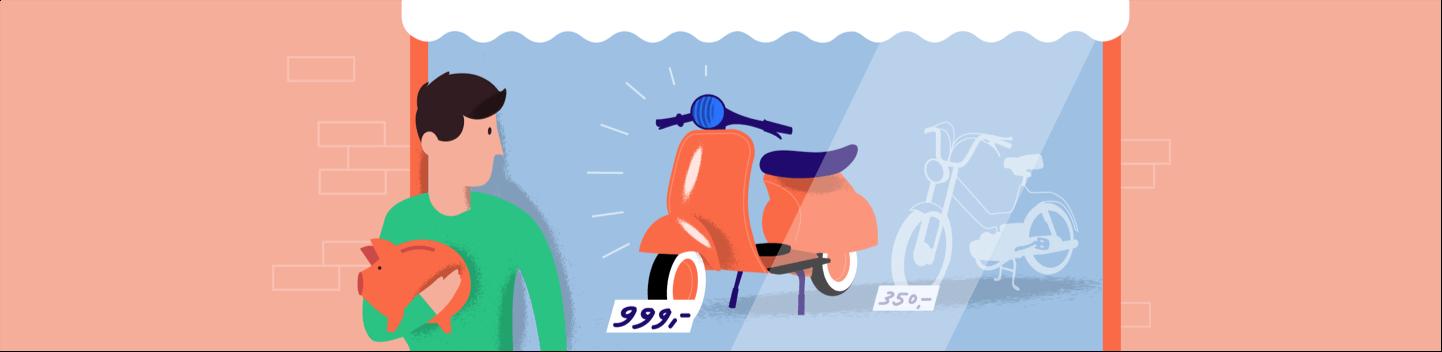 Kasboekje van Nederland man spaart voor een nieuwe Vespa