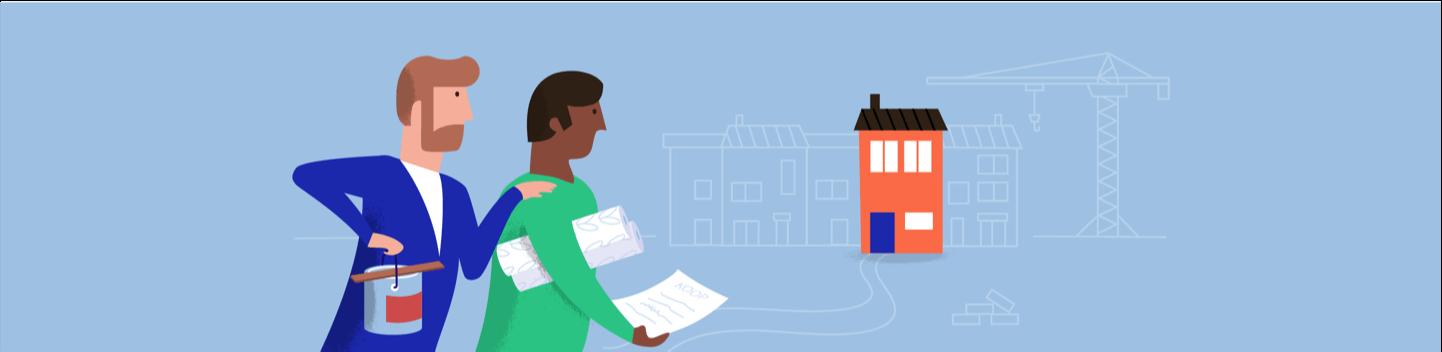 Kasboekje van Nederland illustratie van twee mannen met verf, behang en een nieuw huis.