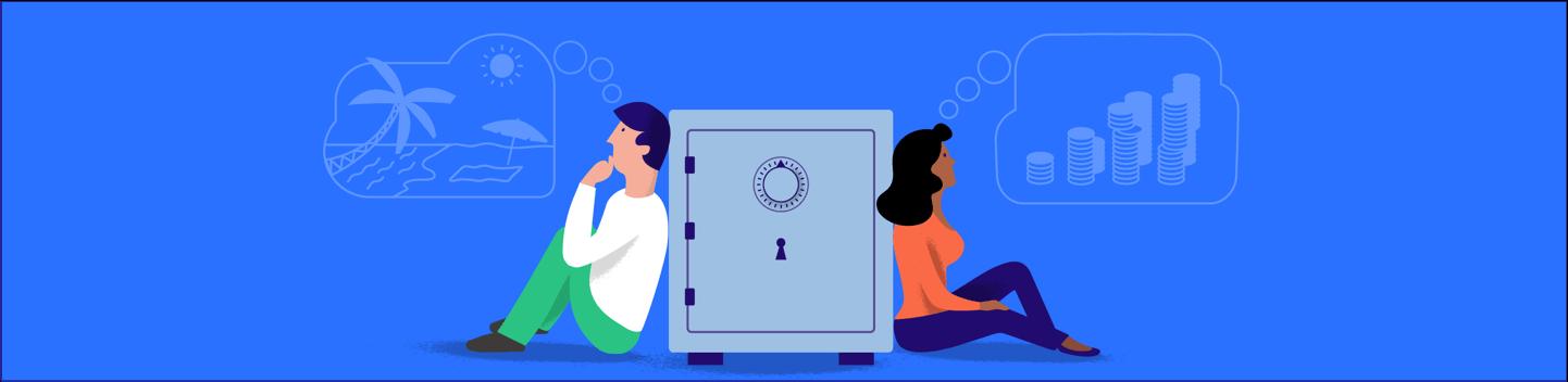 Kasboekje van Nederland illustratie van twee mensen naast een kluis