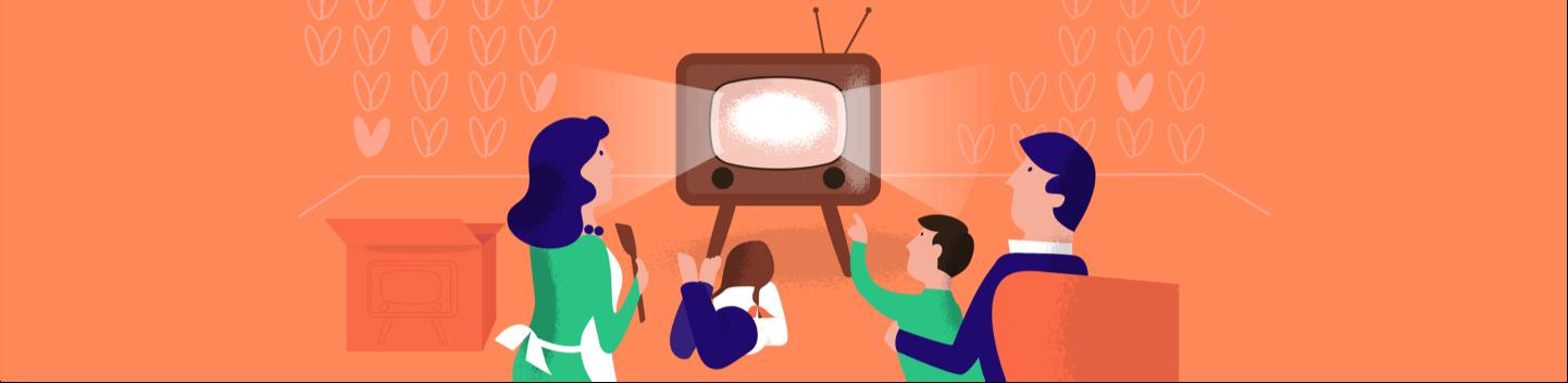 Kasboekje van Nederland illustratie van familie voor de televisie.