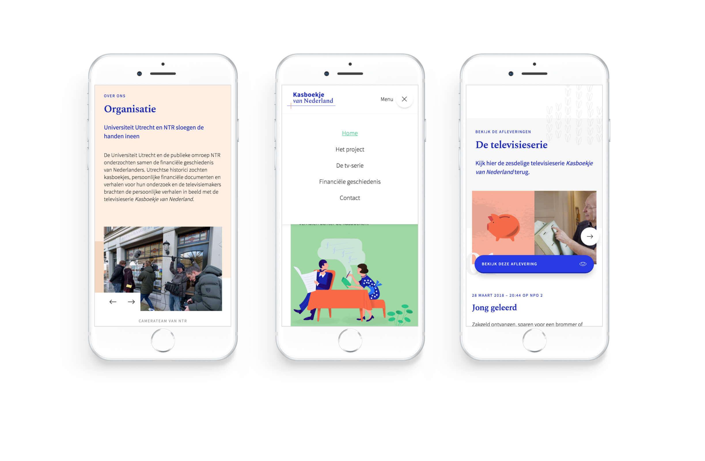 3 iPhone mockups laten de Kasboekje van Nederland website zien