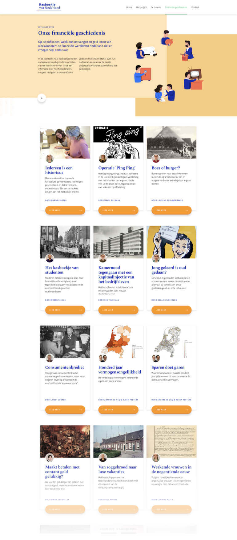 Kaboekje van Nederland pagina die alle artikelen en onderzoeken laat zien.