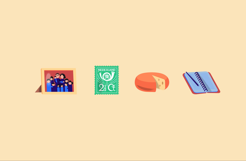 4 illustraties van een fotolijst, postzegel, kaas wiel en een schriftje