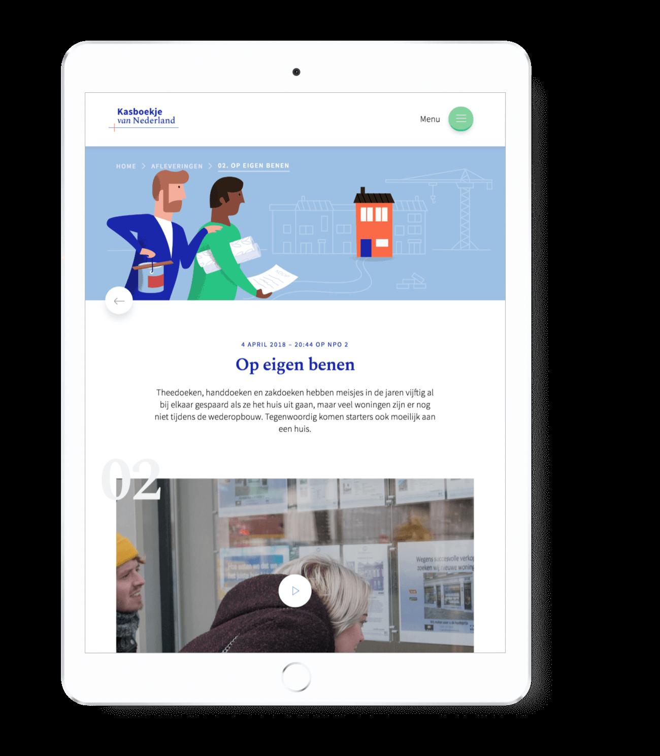 Kasboekje van Nederland afleveringen pagina op iPad tablet