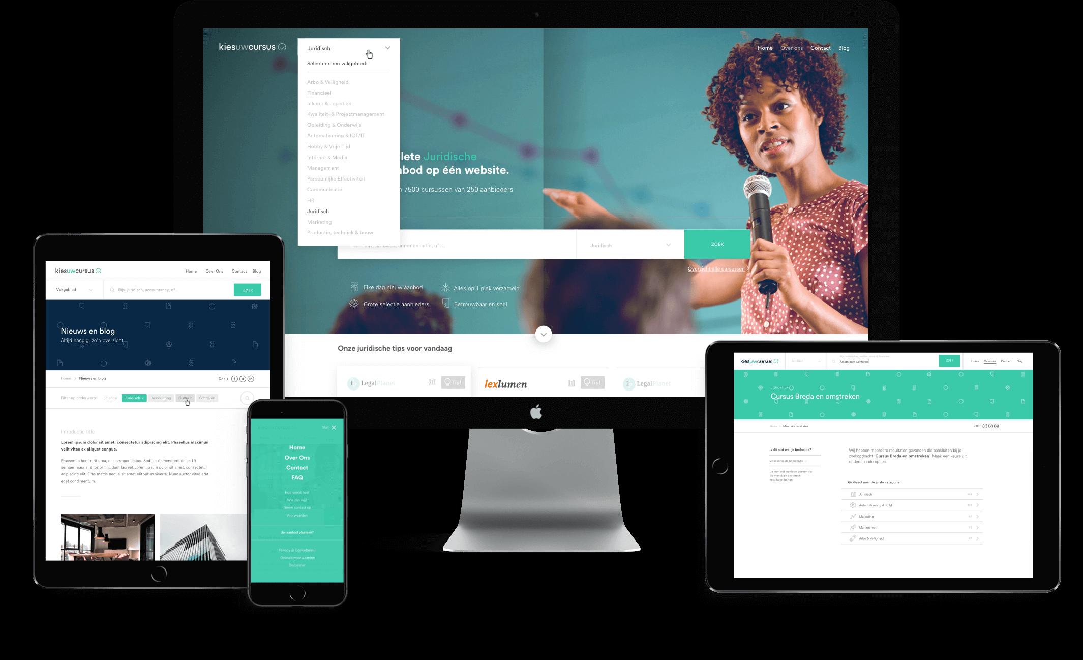 Kies uw Cursus website afgebeeld op mobiel, tablet en desktop