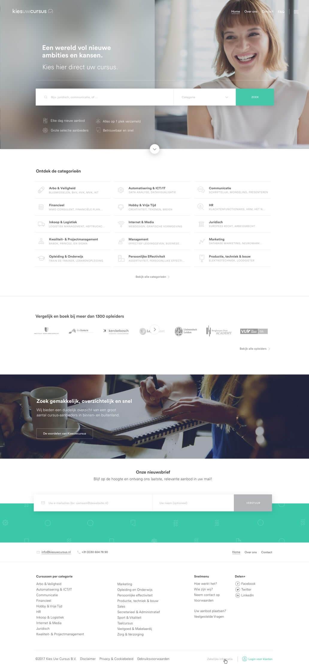 Kies uw Cursus homepage ontwerp