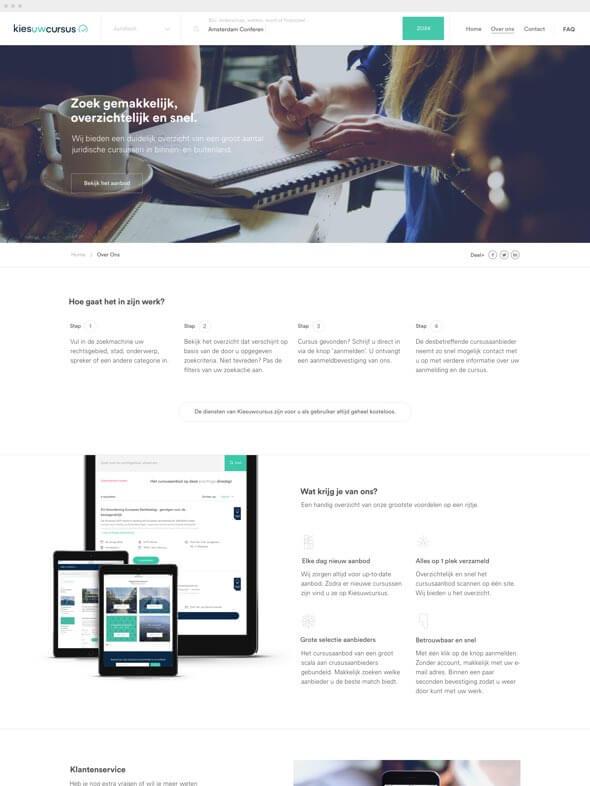 Kies uw Cursus over ons pagina ontwerp
