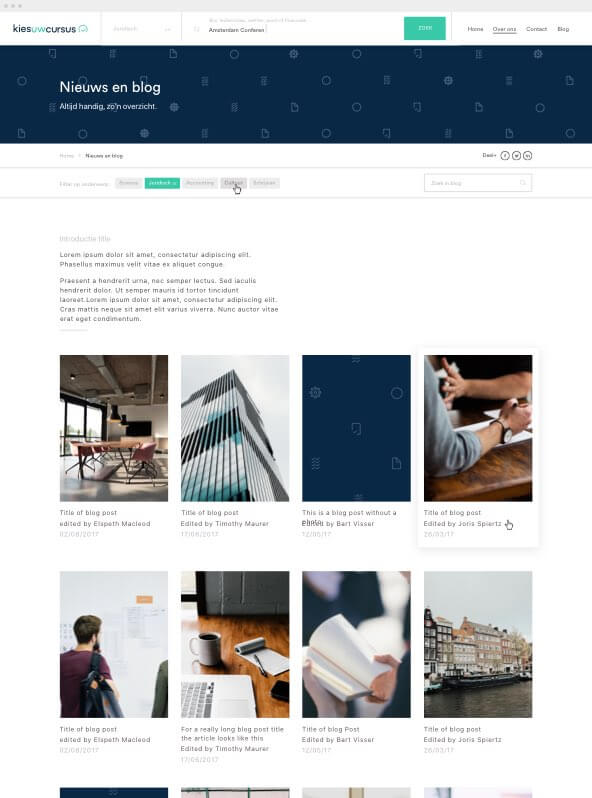 Kies uw Cursus blog pagina design