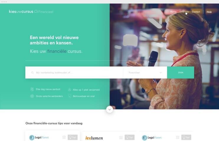 Kies uw Cursus alternatief homepage design