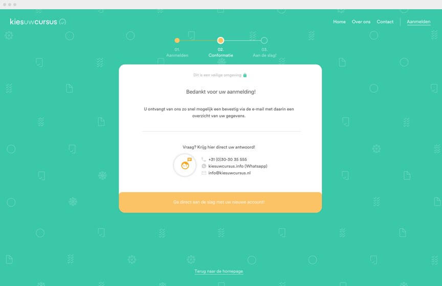 Kies uw Cursus sales funnel bevestiging-scherm afgebeeld