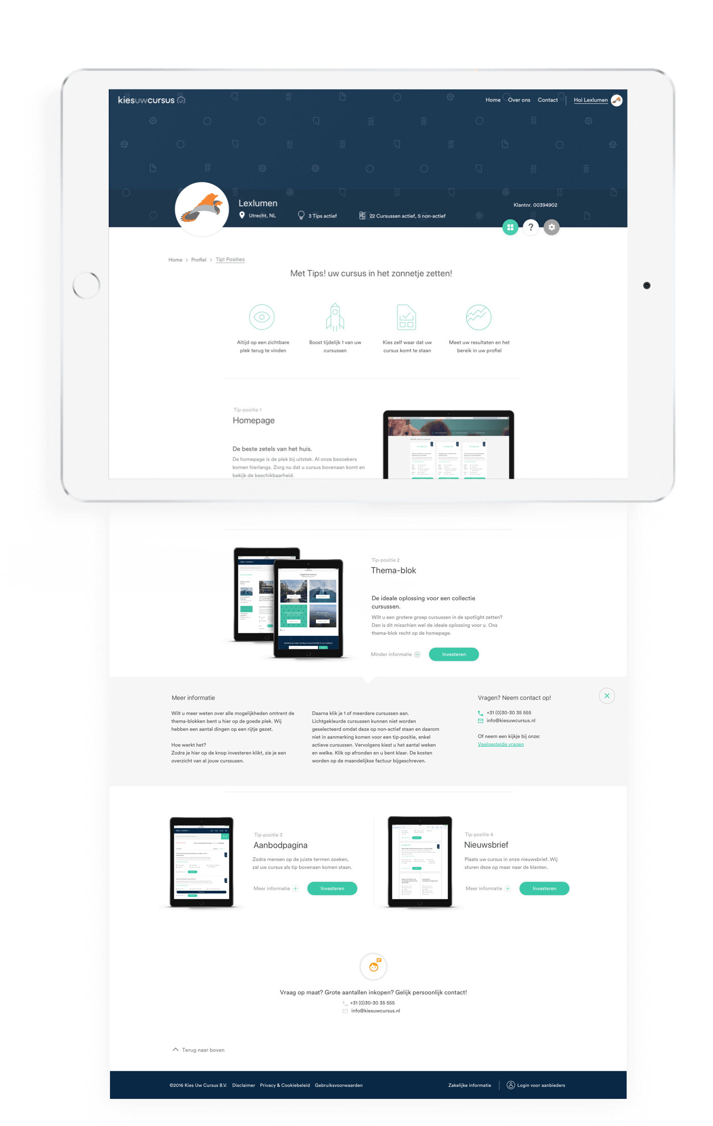 Kies uw Cursus klanten-paneel selecteer cursus afgebeeld op tablet
