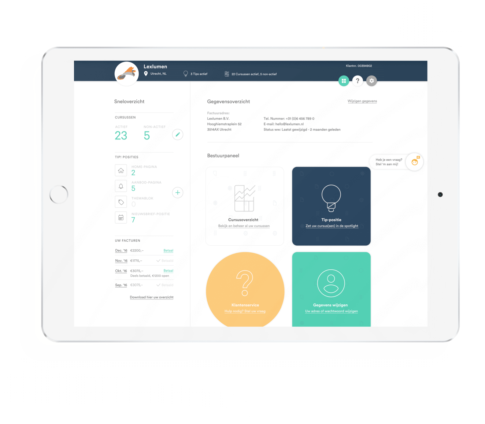 Kies uw Cursus klanten-paneel afgebeeld op tablet