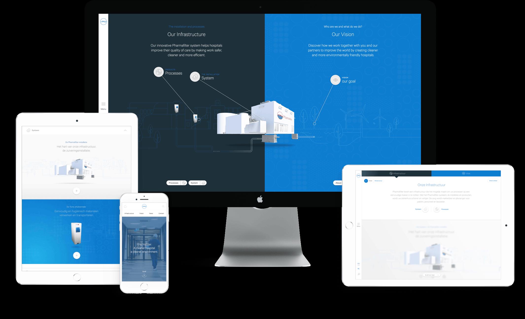 Pharmafilter website ontwerp op mobiel, tablet en desktop