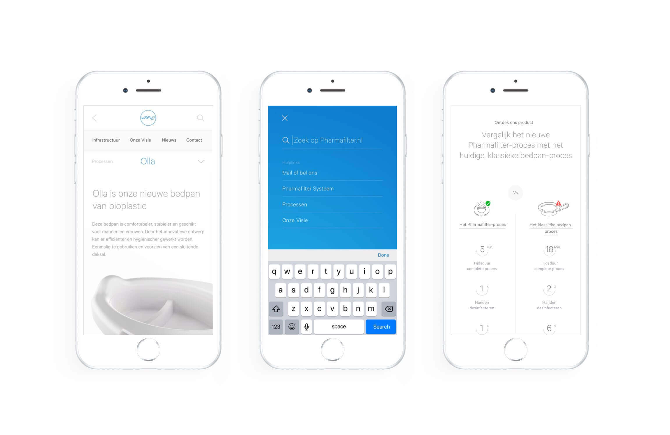 Pharmafilter mobiele pagina ontwerp voor Olla