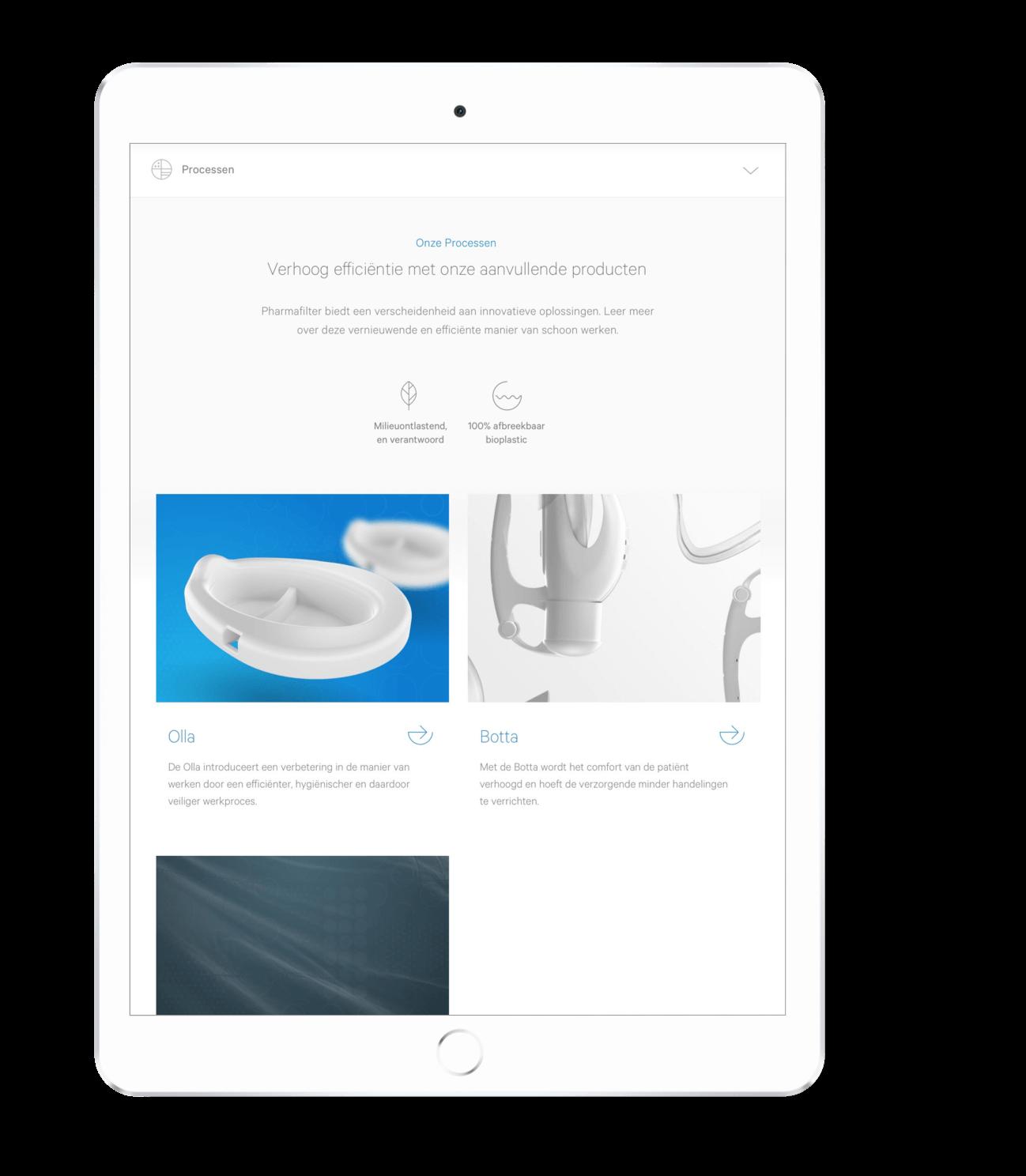 Pharmafilter product pagina overzicht ontwerp op tablet