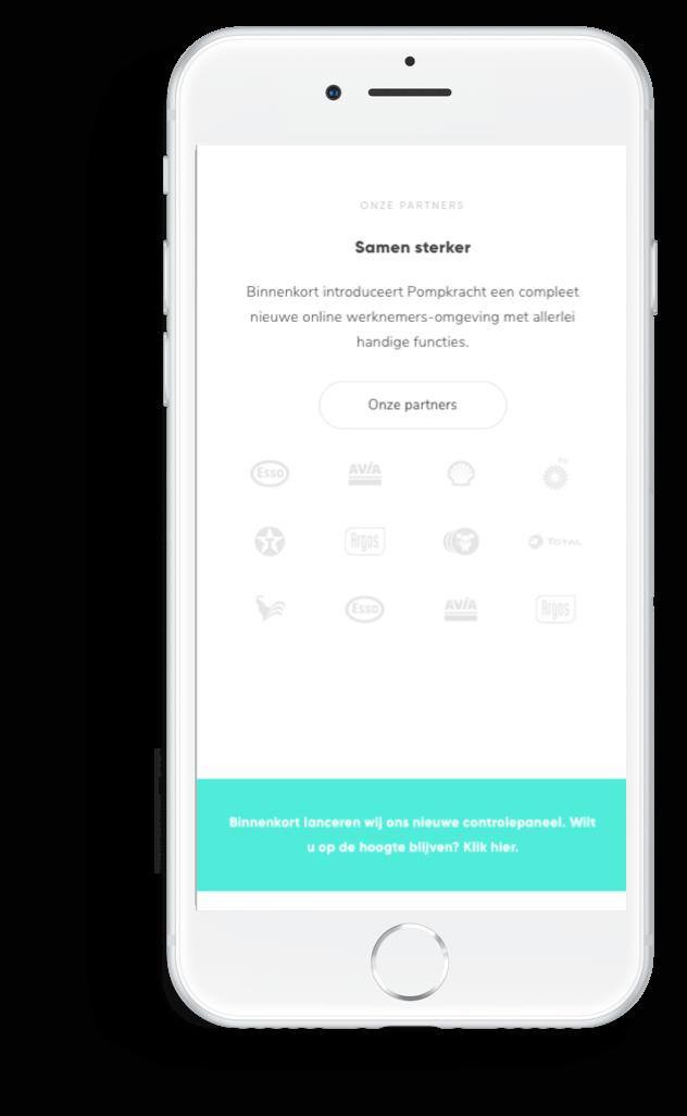 Pompkracht partners en hun logo's afgebeeld op mobiel