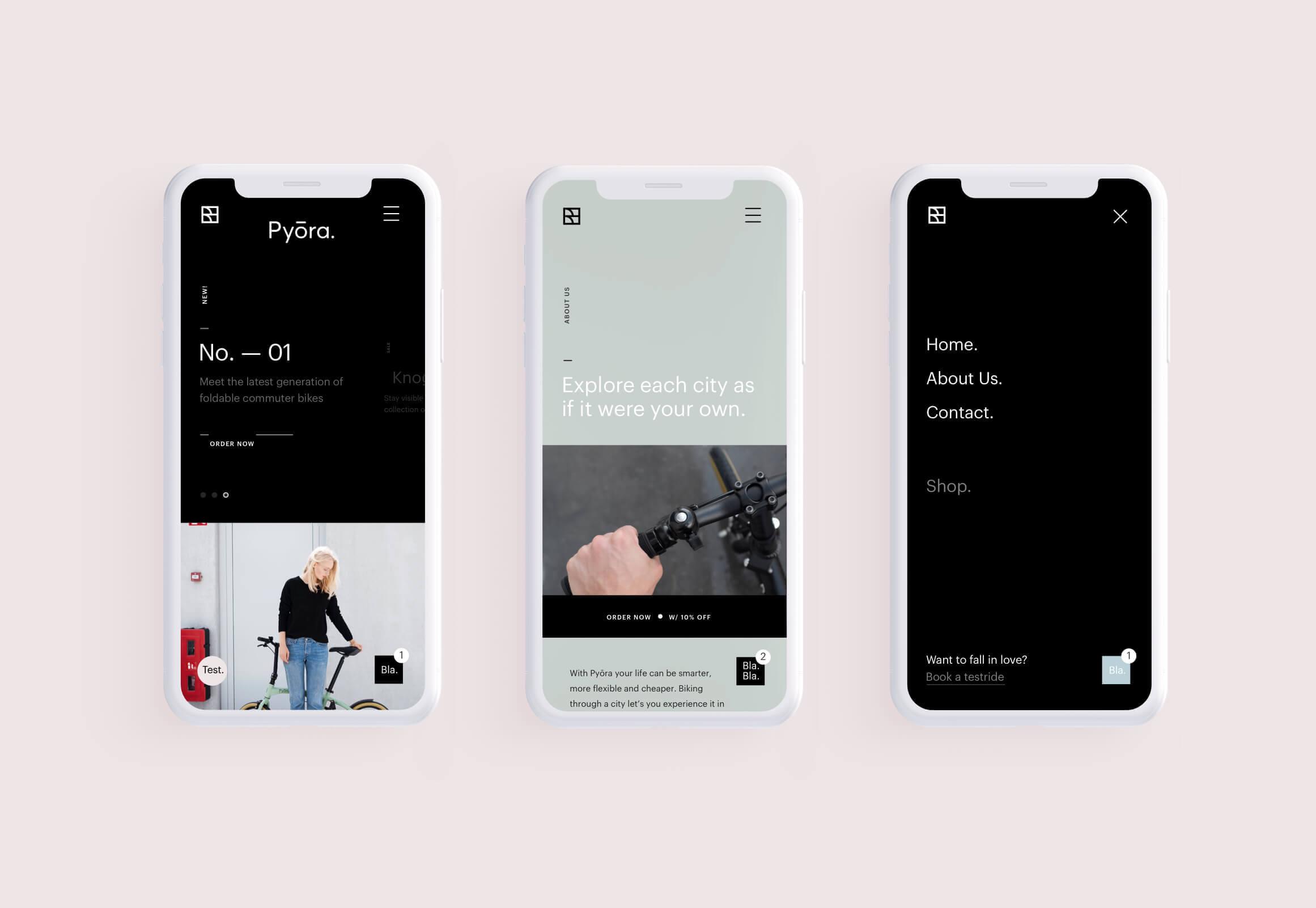 Mobile ontwerp Pyora website