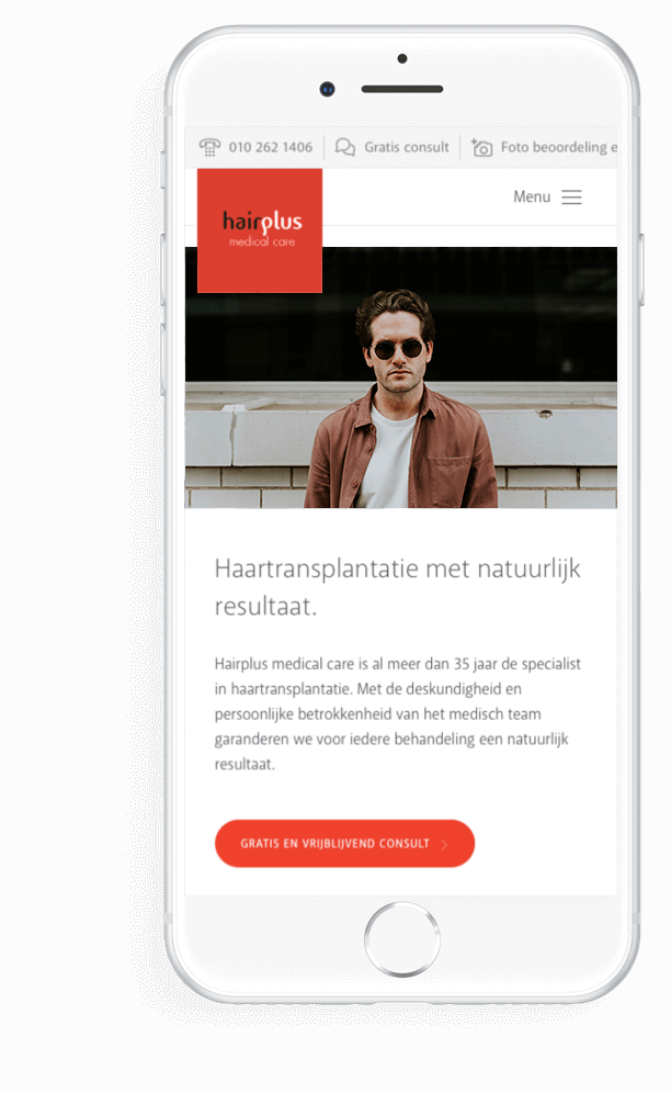 Hairplus Medical Care homepage op mobiel