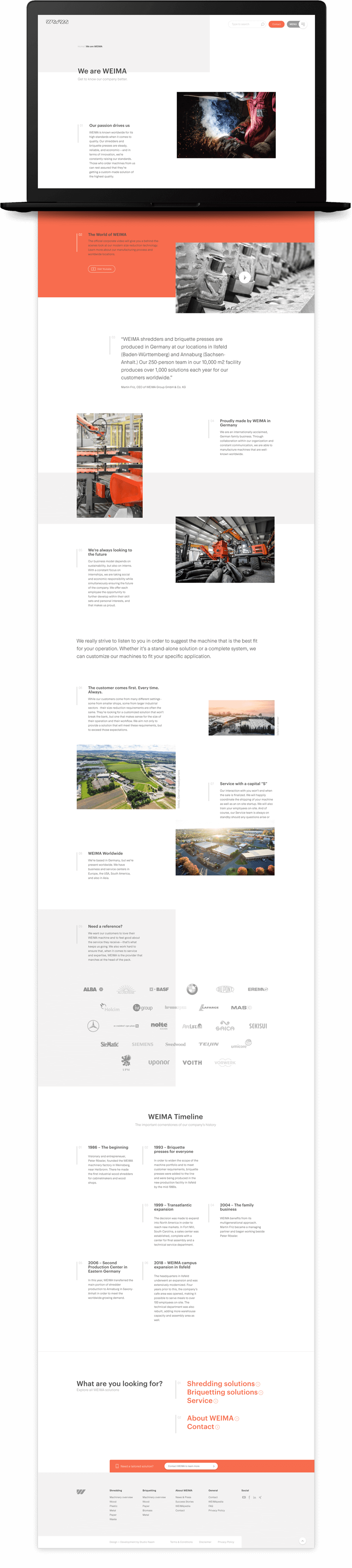 De Weima Maschinenbau over ons pagina.