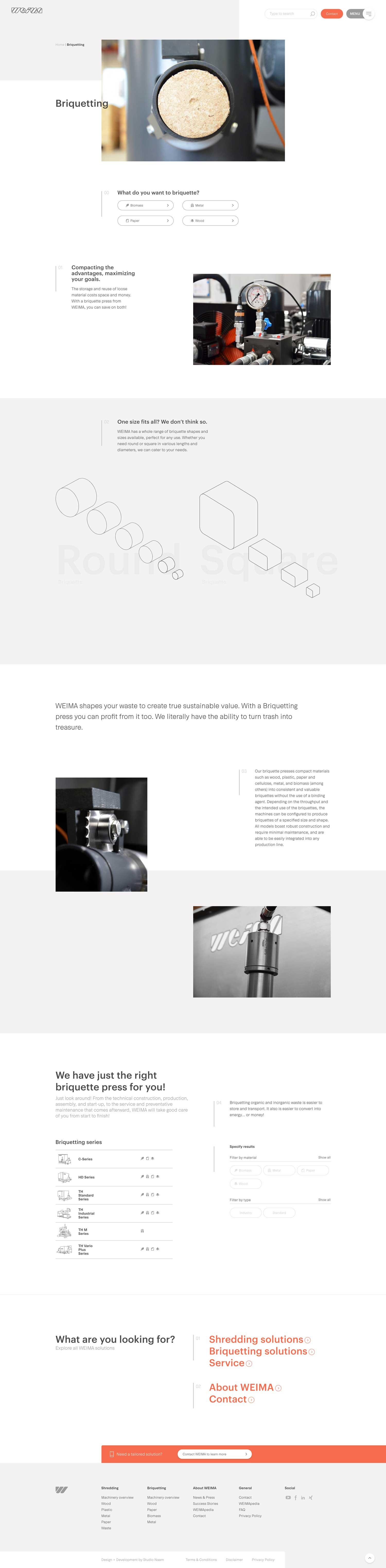 De Weima Maschinenbau briquette pagina.