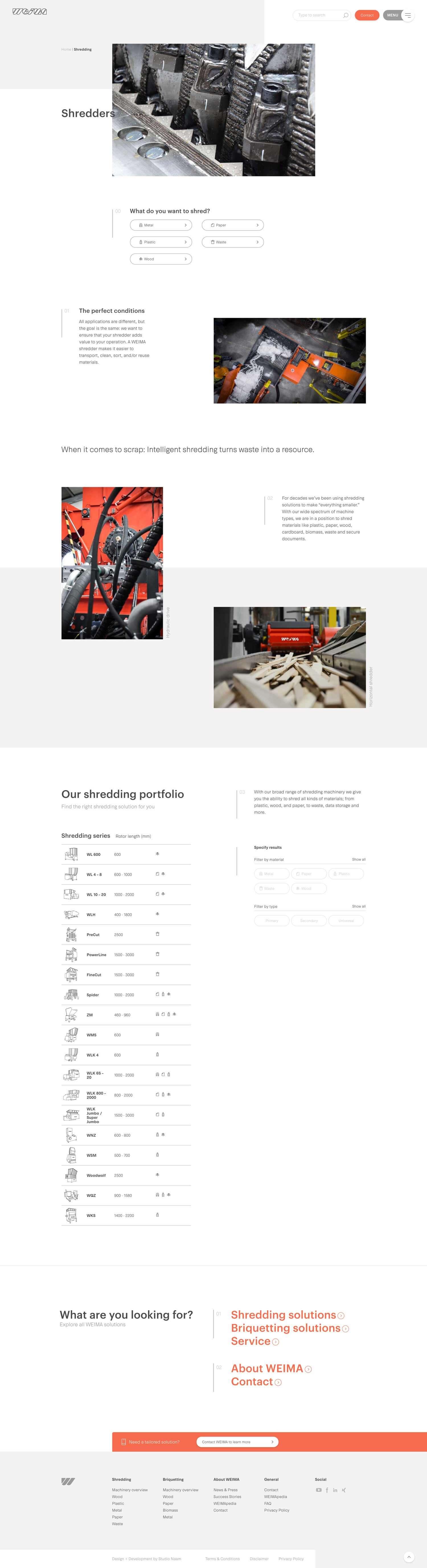De Weima Maschinenbau shredder pagina.