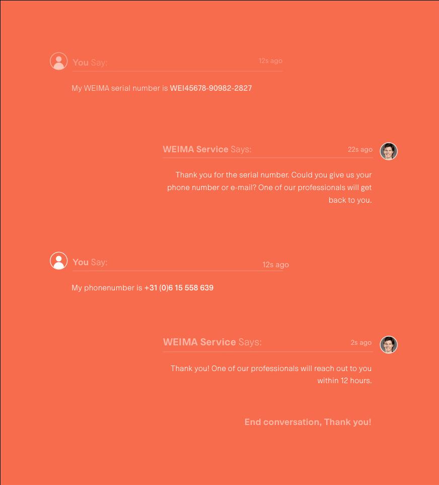 Weima chatbot service illustratie