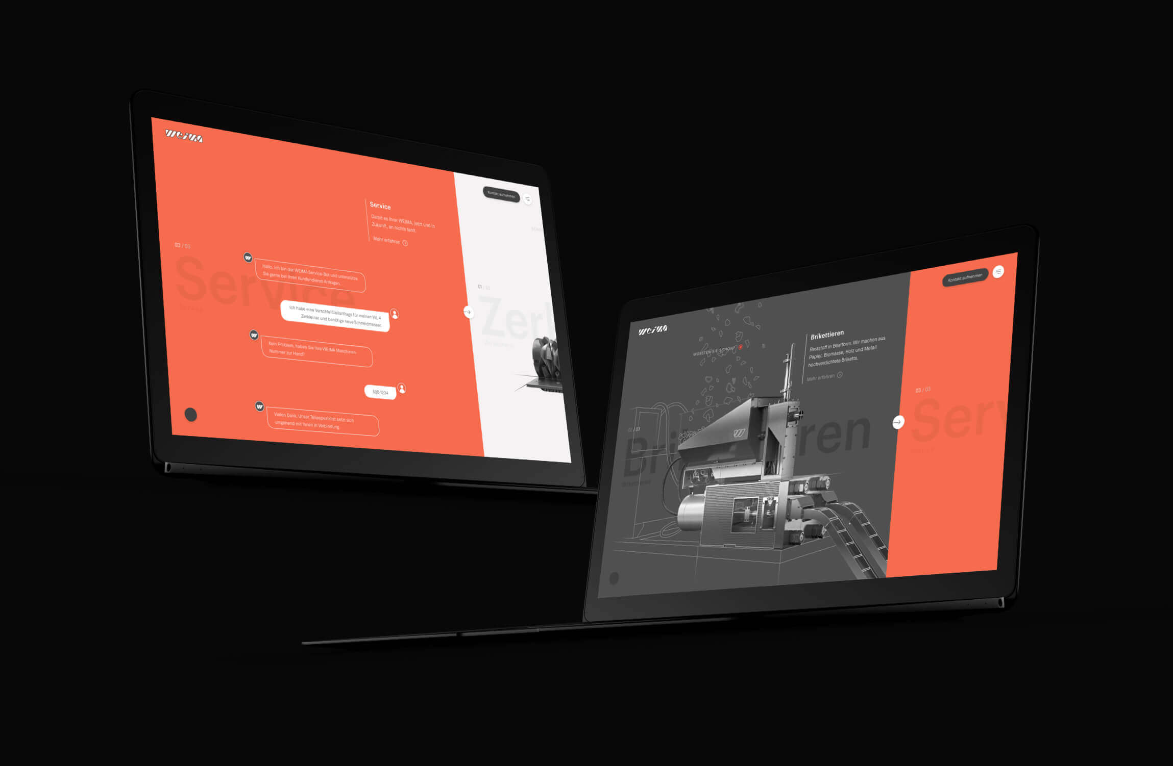 Weima homepage slider die de service en briquette secties laat zien.