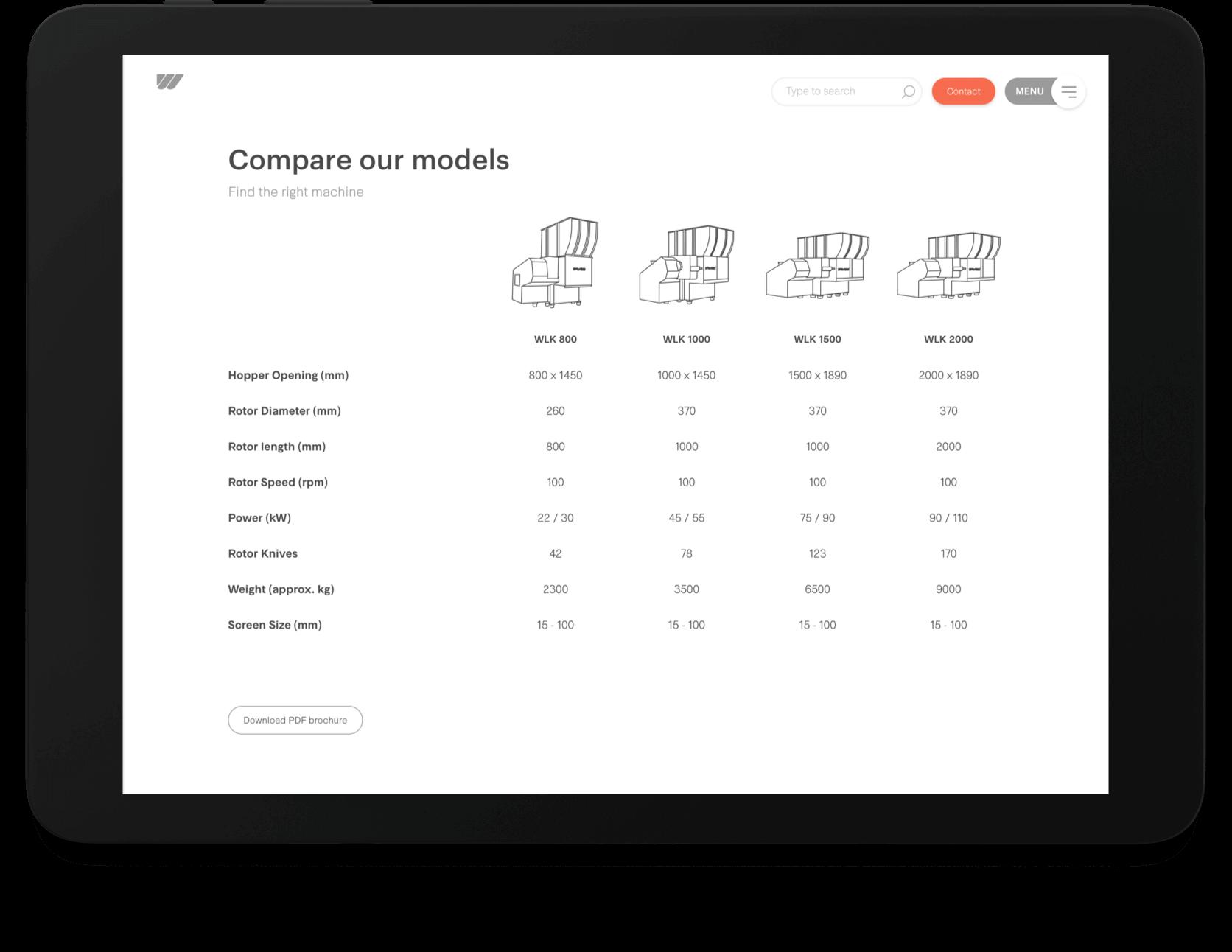 Vergelijk Weima machine-modellen afgebeeld op tablet
