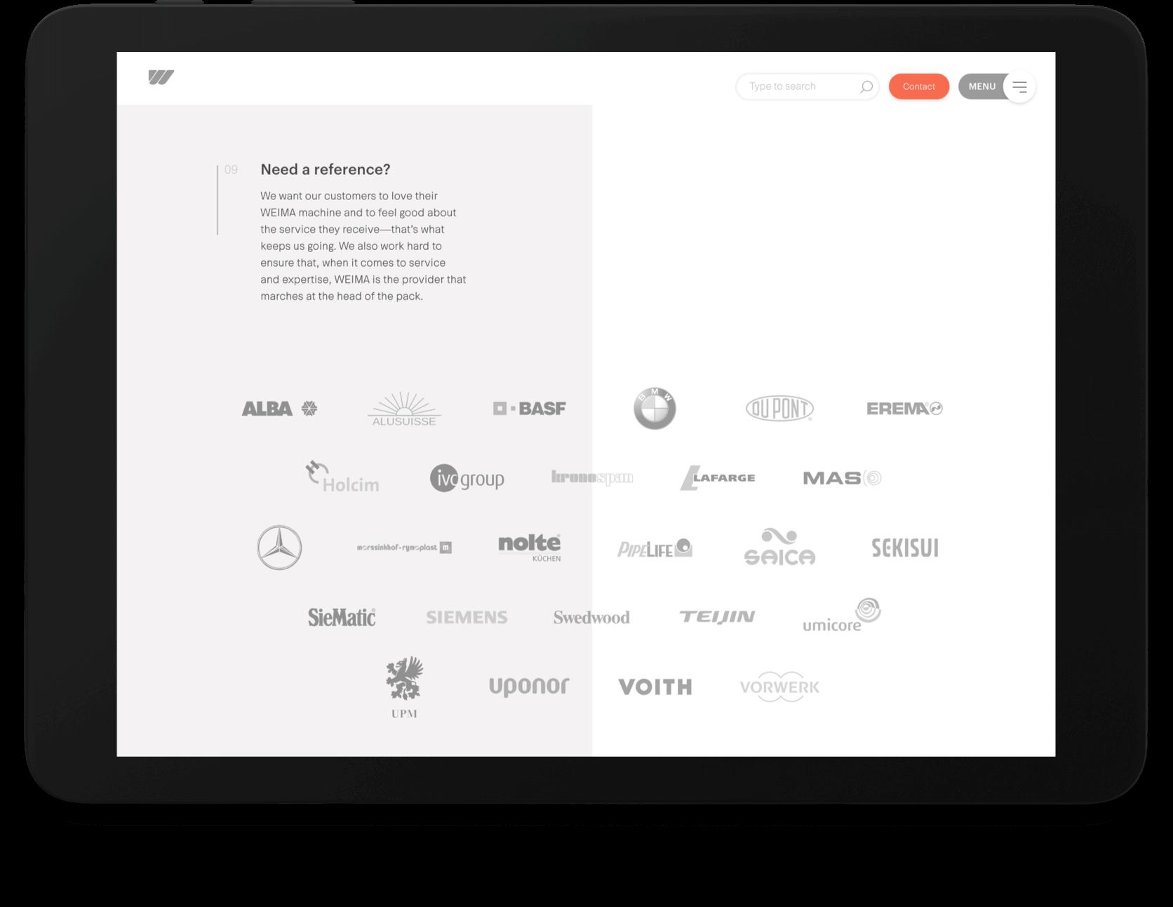 Weima logo's van klanten afgebeeld op tablet